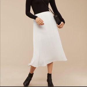 Aritzia Babaton Jude Midi White Pleated Skirt